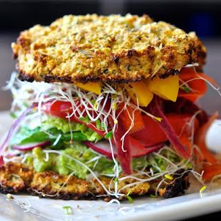 Cauliflower Bread Veggie Sandwich with Avocado Spread.