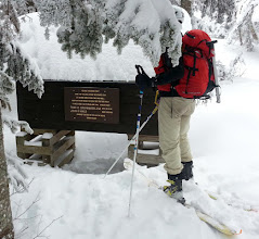 Photo: Stopping at the GoS memorial rescue cache to point out Crumbaker's PhD notation and that Wald was a professional employee at my Harvard graduate school alma mater. Mt Washington avalanche victims tend to be highly educated and accomplished in their careers. I was told that the victim on Friday was about to start medical school.