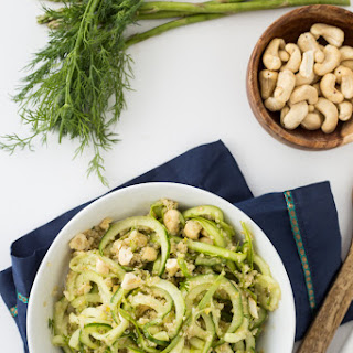 Chilled Spring Cucumber-Dill Salad with Cashews and Quinoa.