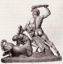 Photo: Um eine möglichst naturgetreue Wiedergabe des Kentauren zu gewährleisten, ließ Canova Studien an einem toten Pferd machen, ein ungewöhnliches Unterfangen, das noch nach Jahren in den Künstlerkreisen Roms besprochen wurde.  Dazu stellte man ein Pferd auf ein Gerüst, schoss ihm mit einer Pistole in das Ohr,  ließ es zusammensacken, erkalten und goss dann den Körper in Gips ab.