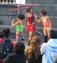 Photo: The street performers: three young women