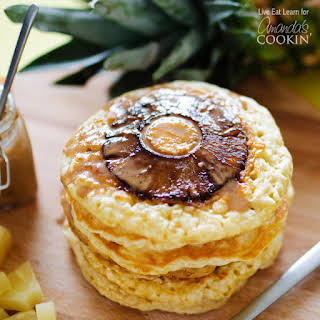 Pineapple Pancakes with Homemade Coconut Syrup.