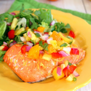 Honey Citrus Glazed Salmon with Pineapple Mango Salsa