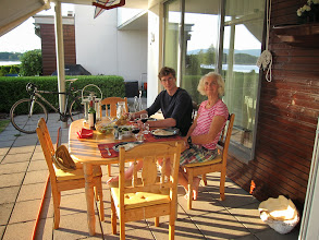 Photo: Quick trip home by road to check the apartment and visit work (for Stein). Dinner outside with Robert and Diana.