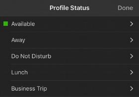 Die 3CX App bietet Ihnen verschiedene Optionen für Ihren aktuellen Status.
