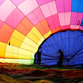 Flying on Balloon  by Alessandra Antonini - Transportation Other ( balloon mounting, flight, transport, colors, hot-air balloon, silhouettes, ballooning, travel, people,  )