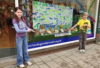Photo: Church youth group TRAX from Oxford 'stepped up' with a banner for Fairtrade Fortnight