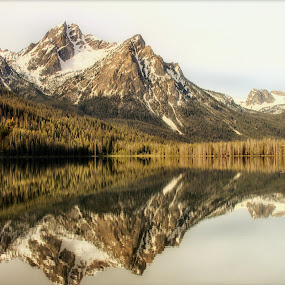 Stanley Lake by Lisa Kidd - Landscapes Mountains & Hills ( water, mountains, reflection, lake )