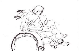 Photo: 病矣2012.06.12鋼筆 老人家病了要去醫院看診,可腳鐐還是不能少…