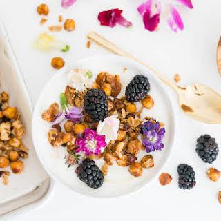 Chickpea Granola Tahini Yogurt Bowl.