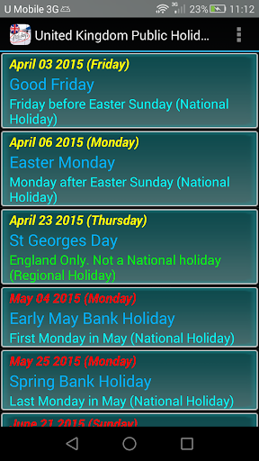 United Kingdom Public Holidays