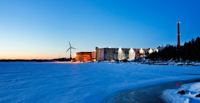 Exterior do data center na Finlândia