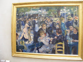 """Photo: Renoir's famous """"Dance at Le Moulin de la Galette."""" From the Orsay's Web site: This painting is doubtless Renoir's most important work of the mid 1870's and was shown at the Impressionist exhibition in 1877. Though some of his friends appear in the picture, Renoir's main aim was to convey the vivacious and joyful atmosphere of this popular dance garden on the Butte Montmartre. The study of the moving crowd, bathed in natural and artificial light, is handled using vibrant, brightly colored brushstrokes. The somewhat blurred impression of the scene prompted negative reactions from contemporary critics. This portrayal of popular Parisian life, with its innovative style and imposing format, a sign of Renoir's artistic ambition, is one of the masterpieces of early Impressionism."""