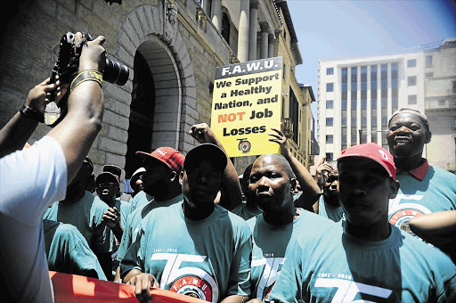 SCHWEET: Food and Allied Workers' Union members march to the offices of the Treasury in Pretoria in protest against the pending sugar tax. Fawu handed over a memorandum of its grievances to the Treasury and the Health Department calling for dialogue on health policies