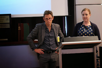 Photo: Stewart Skinner and Georgina Stephens. Georgina won an honourable mention. Her topic was: A new classification system of complications from peripheral Veno-Arterial Extra Corporeal Membrane Oxygenation (VAECMO)