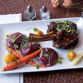 {Basque Stage} Braised Lamb Shank, Goat Cheese Beet Ravioli & Confit Root Vegetables.
