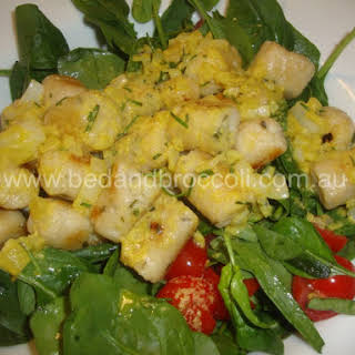 Vegan Pan-fried Gluten Free Cauliflower Gnocchi with a lemon & rosemary sauce.