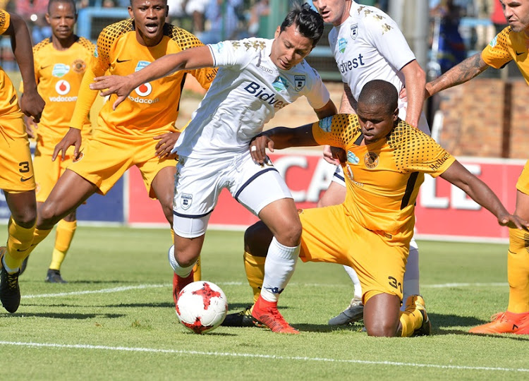 Amr Gamal of Bidvest Wits and Willard Katsande of Kaizer Chiefs during the Telkom Knockout Semi Final match between Bidvest Wits and Kaizer Chiefs at Bidvest Stadium on November 18, 2017.