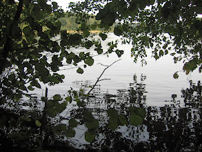 Photo: W szklanej tafli jeziora odbijały się zielone jeszcze liście, przypominając nam, że lato się nie skończyło. Wietrzyk lekko marszczył toń jeziora.