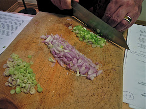 Photo: cutting lemon grass, shallots and green onions