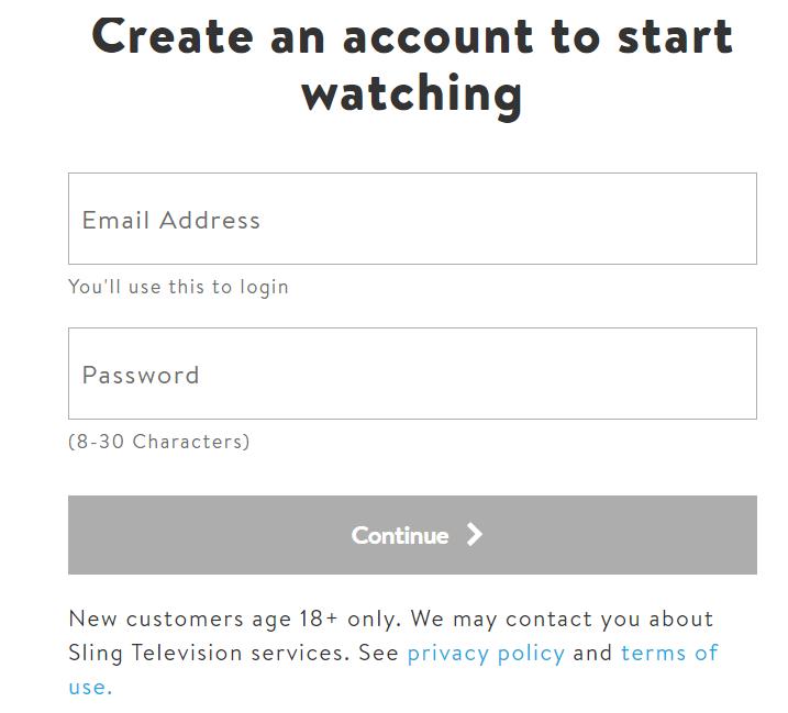 Sling Signup process