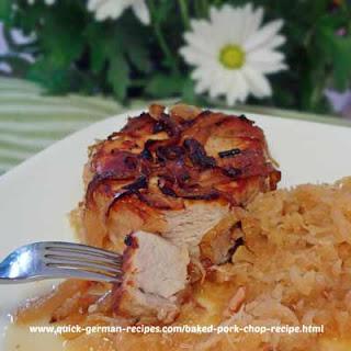 Baked Pork Chop Recipe with Sauerkraut.