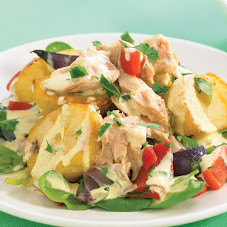 Roasted Potato Salad with Curry Mayo and Salmon
