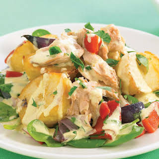 Roasted Potato Salad with Curry Mayo and Salmon.