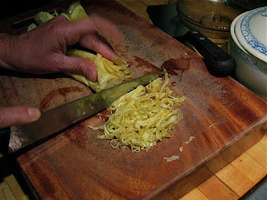 Photo: shredding rolled up egg crepes