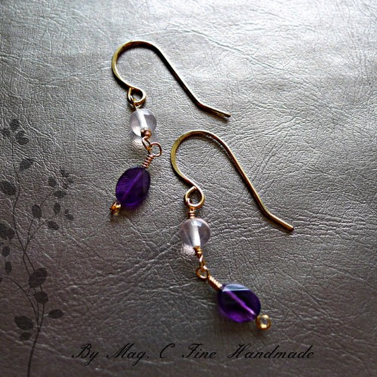 Minimalist Amethyst Earrings by Heavenly Gems