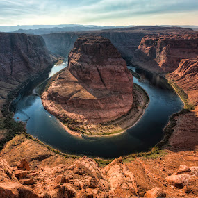 Horseshoe Bend by John Williams - Landscapes Caves & Formations ( colorado river, cliffs, sculptured rock, late afternoon, landscape, horseshoe bend, shadows, paige arizona, river )