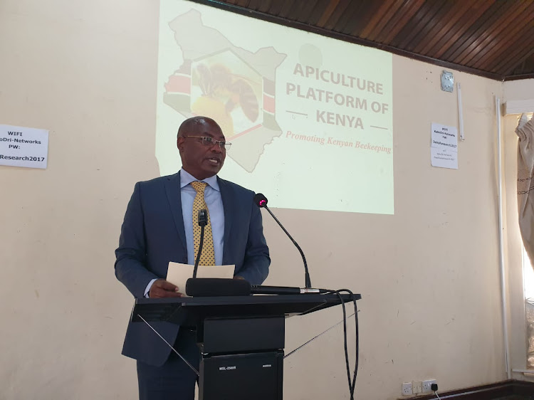 Livestock Principal Secretary, Harry Kimtai addresses participants during the Apiculture Platform of Kenya Annual Generl Meeting in Naivasha