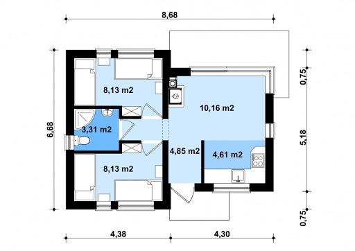 G255 - Budynek rekreacji indywidualnej - Rzut parteru