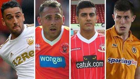 Neil Taylor (left), Michael Chopra (second left), Malvind Benning (second right) and Danny Batth