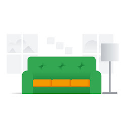 An illustration of a couch with product staging