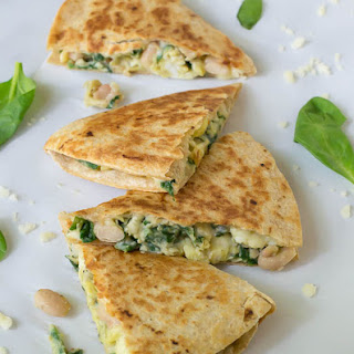Make Ahead Breakfast Quesadilla with Cheese Spinach and White Beans.