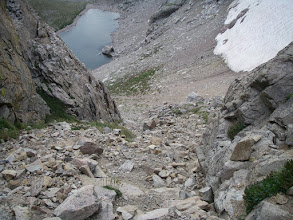 Photo: Another view down the descent gully. Aptly named Lake of Many Winds is visible below.