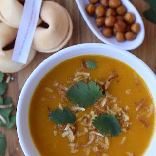 Asian Butternut Soup Spiced Air Fried Chickpeas Air Fried Coconut