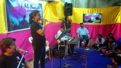 Photo: Rumki, Shaoli and Dyuti mingle their voices to the notes of Iktara