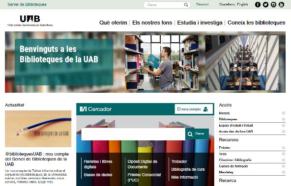 Web Servei de Biblioteques