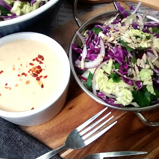 Asian Cabbage Slaw w/ Tahini-Miso Dressing