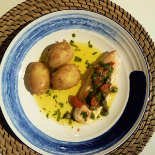 Pan Fried Gurnard Fillets with Olive Oil, Caper, Tomato and Basil Sauce