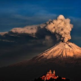 Snowy Popocatepetl by Cristobal Garciaferro Rubio - Landscapes Mountains & Hills ( cholula, popo, mexico, puebla, popocatepetl, smoking volcano, eruption )