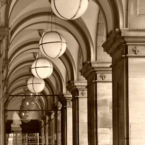 Arches by Yvonne Katcher - Buildings & Architecture Office Buildings & Hotels ( lights, sepia, arches, round lights, people )