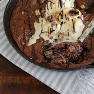 PB Snickers Skillet Brownie