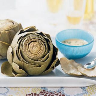 Artichokes with Roasted Garlic-Wine Dip