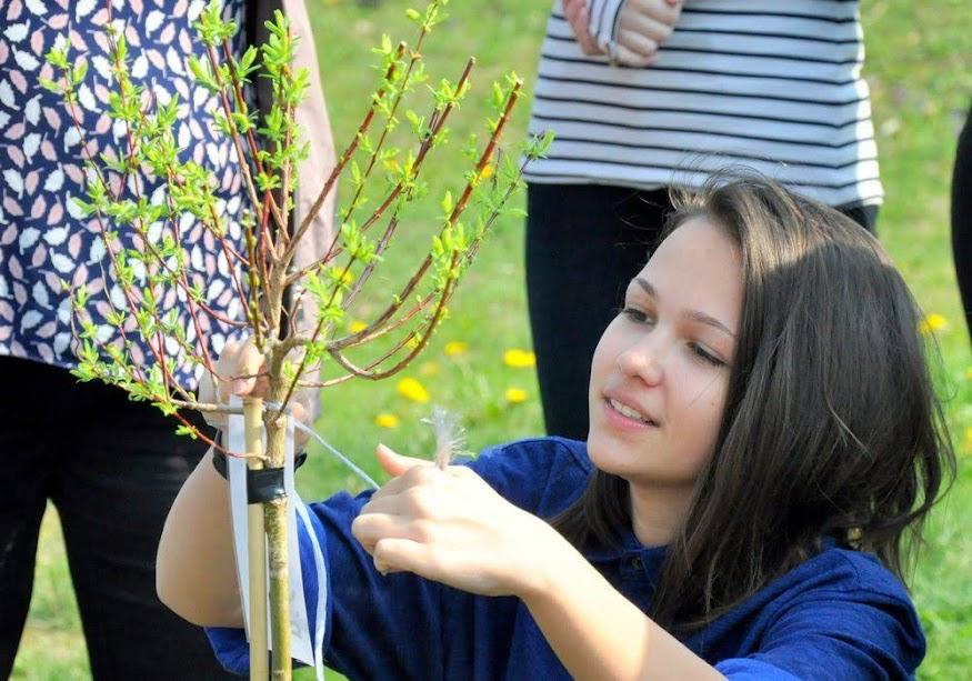 Vysádzanie stromčekov žiakmi 9. ročníkov