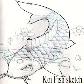 Sketsa Ikan Koi Poster