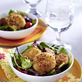 Crispy Fried Cheese Patties with Salad.