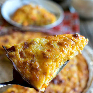Crustless Ham and Cheddar Quiche.